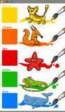 Main colors with cartoon animals Stock Image