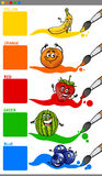 Main colors with cartoon fruits Royalty Free Stock Images