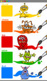Main colors with cartoon monsters Royalty Free Stock Photography