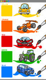 Main colors cartoon with vehicles Royalty Free Stock Image