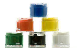Main colors' oil paint banks Royalty Free Stock Photos