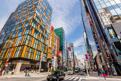 The main commercial street in Ginza - Tokyo. The main commercial street in the Ginza commercial district in  Tokyo. Japan Stock Photo