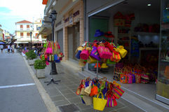 Main commercial street,Lefkada,Greece Stock Photos