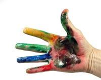 Main complètement de peinture Images stock