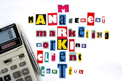 Main components of market and business Stock Image
