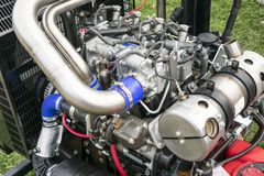 Internal combustion engine on display. Main components and parts on display of an internal combustion engine , closeup royalty free stock photo