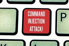 Main conceptuelle écrivant montrant l'attaque d'injection de Comanalysisd Exécution de présentation de photo d'affaires des coman illustration de vecteur