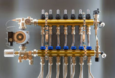 Main Control manifold of house heating Royalty Free Stock Photography