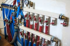 Main Control manifold of house heating system stock photography
