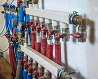 Main Control manifold of house heating system and floor heating royalty free stock photos