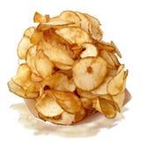 Main-coupez les pommes chips Images libres de droits