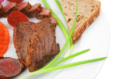 Main course : grilled fat meat Royalty Free Stock Photo