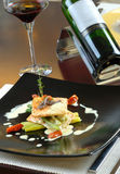 Main course with wine Stock Photos