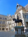 Main Courtyard of Château de Pierrefonds. Medieval Castle of Pierrefonds in France Royalty Free Stock Photos