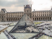 Main courtyard of the Louvre Museum Stock Photos