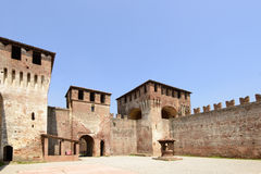 Main courtyard north view, Soncino Castle. View of north side of main inner court in the ancient Sforzesco Castle, shot in bright summer light royalty free stock images