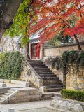 Main courtyard of the Taiqing gong or Temple of Supreme Purity. On mountain Lao during autumn Royalty Free Stock Image