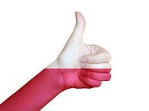 Main couverte dans le drapeau de la Pologne Photo libre de droits