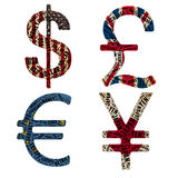 Currencies in typographic style Royalty Free Stock Images