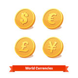 Main currencies symbols represented as gold coins Stock Images