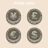 Main currencies symbols represented as shiny stone coins Royalty Free Stock Image
