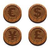 Main currencies symbols, wooden coins Stock Image
