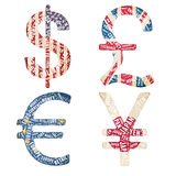 Currencies in typographic style Stock Photos