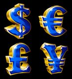 Main currency symbols. Vector main currency symbols in 3D style. Dollar, Euro, Pound  and Yen Royalty Free Stock Photos