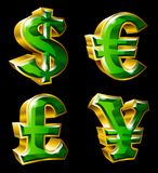 Main currency symbols. Vector main currency symbols in 3D style. Dollar, Euro, Pound  and Yen Royalty Free Stock Photography