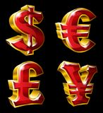 Main currency symbols. Vector main currency symbols in 3D style. Dollar, Euro, Pound  and Yen Royalty Free Stock Image