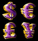 Main currency symbols. Vector main currency symbols in 3D style. Dollar, Euro, Pound  and Yen Stock Images