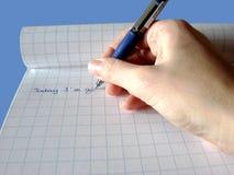 Main d'écriture photo libre de droits