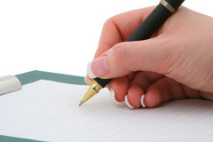 Main d'écriture Image libre de droits