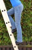 Main-d'œuvre féminine s'élevant sur l'échelle dans le jardin images stock