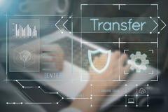 Main d'affaires dactylographiant sur le clavier d'ordinateur avec la page d'accueil de transfert image libre de droits