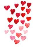 Main d'aquarelle de jour du ` s de Valentine peignant le coeur rouge photo stock