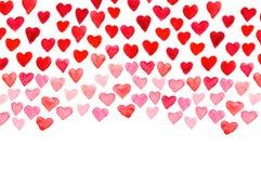 Main d'aquarelle de jour du ` s de Valentine peignant le coeur rouge Images stock