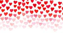 Main d'aquarelle de jour du ` s de Valentine peignant le coeur rouge Photographie stock
