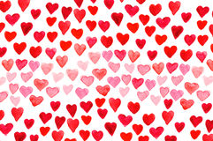 Main d'aquarelle de jour du ` s de Valentine peignant le coeur rouge Photographie stock libre de droits