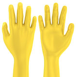main 3D d'or vers le haut de geste illustration libre de droits