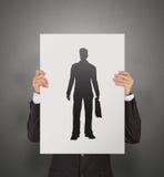 Main d'homme d'affaires choisissant l'icône de personnes Photos stock