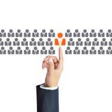 Main d'homme d'affaires indiquant l'icône humaine - heure, concepts de HRM Photos libres de droits