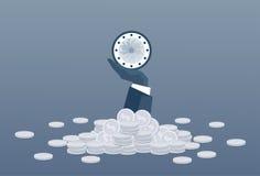 Main d'homme d'affaires tenant le concept de date-butoir de gestion du temps d'horloge Photographie stock