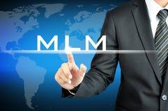 Main d'homme d'affaires touchant le signe de MLM (vente de niveau multi) Photos libres de droits