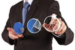 Main d'homme d'affaires traçant un graphique circulaire Photo libre de droits