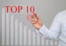 Main d'homme d'affaires Write un texte de TOP10 Images stock