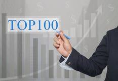 Main d'homme d'affaires Write un texte de TOP100 Image stock