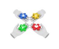 main 3d humaine blanche reliant des puzzles colorés aux symboles 3d illustration libre de droits