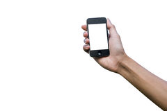 Main d'isolement tenant le téléphone intelligent Images libres de droits
