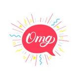 Main d'Omg écrite marquant avec des lettres le fond Image stock